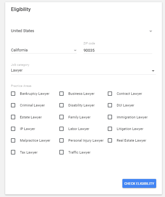 Google Screened eligibility menu