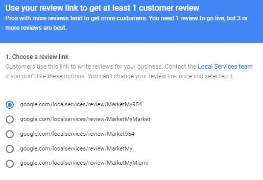 Selecting a review link in Google Screened